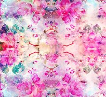 Girly pastel pink floral bright watercolor space by GirlyTrend