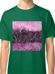 Girly pink black watercolor handdrawn floral Classic T-Shirt