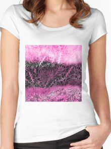 Girly pink black watercolor handdrawn floral Women's Fitted Scoop T-Shirt