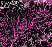 Girly pink black watercolor handdrawn floral Sticker