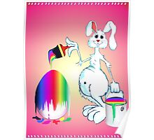 Easter Bunny Paints Poster