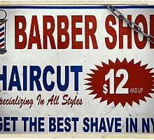 Barber Shop - New York City Store Sign Kodachrome Postcards  by Reinvention