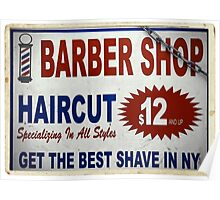 Barber Shop - New York City Store Sign Kodachrome Postcards  Poster