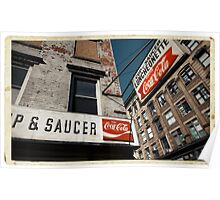 Cup & Saucer - New York City Store Sign Kodachrome Postcards  Poster