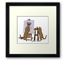 Artists at Work .. cheeky cats Framed Print