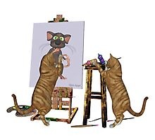 Artists at Work .. cheeky cats Photographic Print