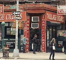 Village Cigars - New York City Store Sign Kodachrome Postcards  by Reinvention