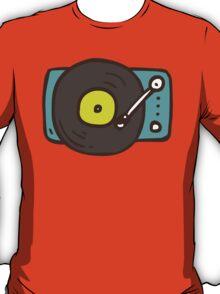 Hand Drawn Vinyl Record Turntable T-Shirt