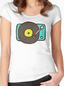 Hand Drawn Vinyl Record Turntable Women's Fitted Scoop T-Shirt