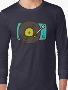 Hand Drawn Vinyl Record Turntable Long Sleeve T-Shirt