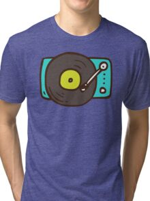 Hand Drawn Vinyl Record Turntable Tri-blend T-Shirt
