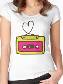 Hand Drawn Audio Tape Cassette Women's Fitted Scoop T-Shirt