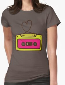 Hand Drawn Audio Tape Cassette Womens Fitted T-Shirt