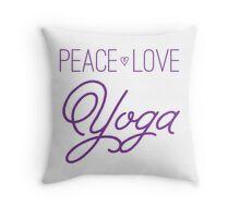 Peace, Love, Yoga- Purple Throw Pillow