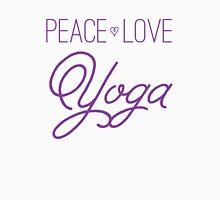 Peace, Love, Yoga- Purple Unisex T-Shirt