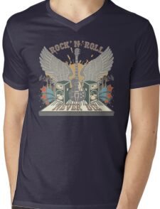 Rock n Roll Will Never Die Mens V-Neck T-Shirt