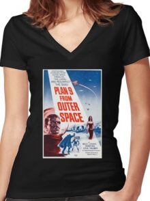 Vampira in Space Women's Fitted V-Neck T-Shirt