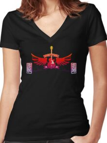 Rock and Roll Guitar Wings Women's Fitted V-Neck T-Shirt