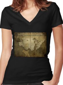 Map of Future America: 6023 A.D. Women's Fitted V-Neck T-Shirt