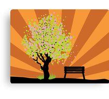 Beautiful sakura and bench 3 Canvas Print