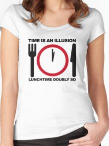 Time is an Illusion, Lunchtime Doubly So Women's Fitted Scoop T-Shirt