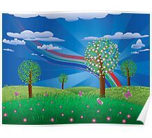 Blooming tree on grass field Poster