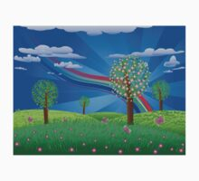 Blooming tree on grass field Kids Clothes