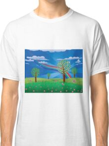 Blooming tree on grass field Classic T-Shirt