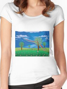 Blooming tree on grass field Women's Fitted Scoop T-Shirt