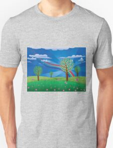 Blooming tree on grass field Unisex T-Shirt