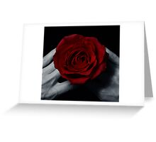 Red roses in hand  Greeting Card