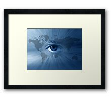 World-map and  blue eye Framed Print
