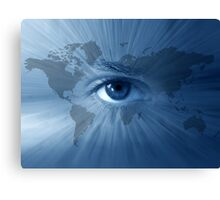 World-map and  blue eye Canvas Print