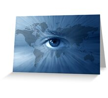 World-map and  blue eye Greeting Card