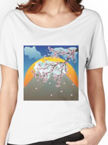 Branch of Sakura and Volcano 2 Women's Relaxed Fit T-Shirt