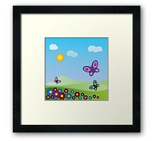 Flowers and butterflies Framed Print