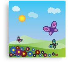 Flowers and butterflies Canvas Print
