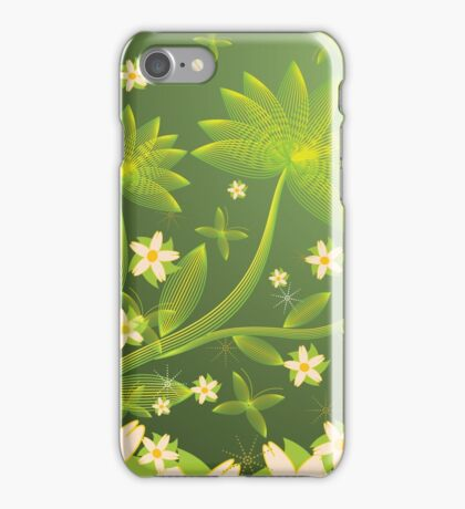 Green floral background iPhone Case/Skin