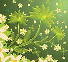 Green floral background by AnnArtshock