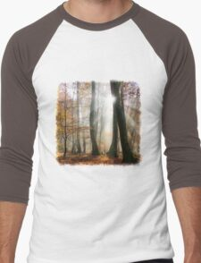 Sun rays in a mystic misty forest Men's Baseball ¾ T-Shirt