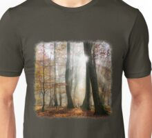 Sun rays in a mystic misty forest Unisex T-Shirt