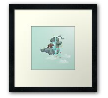 Low Poly Bear Fishing for Salmon Framed Print