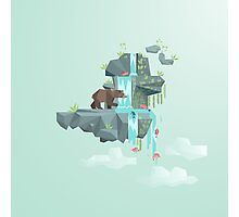 Low Poly Bear Fishing for Salmon Photographic Print