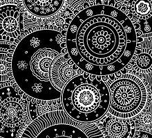 Lacy White Mandalas on Black by LaurelMae