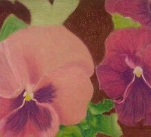 Pink-Purple Pansy Pair by jartcreations