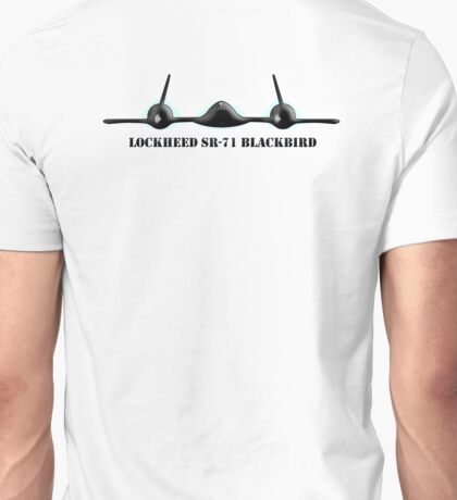 Blackbird, Aircraft, Lockheed, SR-71, Mach 3+, Strategic Reconnaissance, United States Air Force, on White Unisex T-Shirt