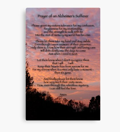 Prayer of an Alzheimer's Sufferer Canvas Print