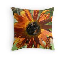 Orange-Gold Sunflower Throw Pillow
