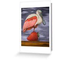 Spoonbill On A Strawberry Greeting Card