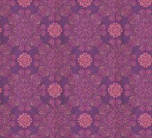 ornamental seamless pattern on purple texture by Deanora